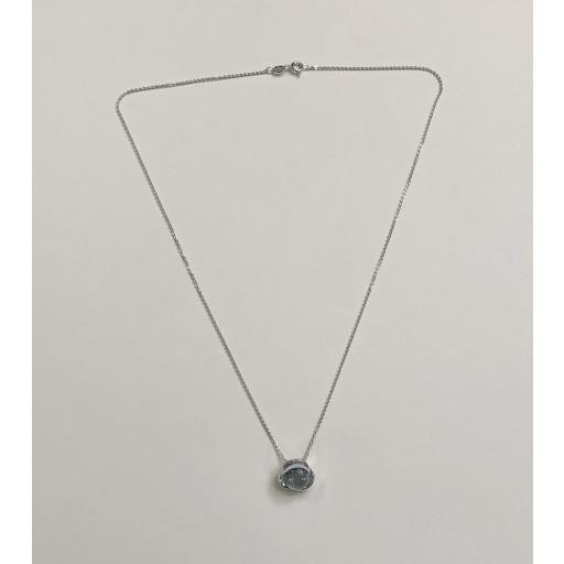 Sølv halskæde med zirkoner og blå topas