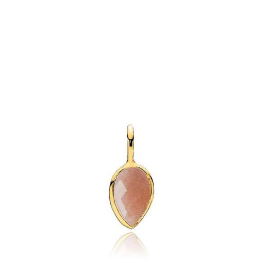 Dew Drop vedhæng i guld med en pink månesten fra Izabel Camille.