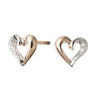 Romantiske hjerte ørestikker i 14kt. guld med 0,02ct TW/si brillanter fra Nordahl Andersen