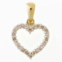 Hjerte vedhæng i 14kt guld med diamanter fra Lund Copenhagen