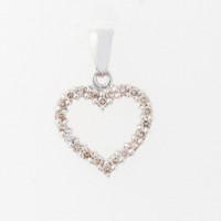 Hjerte vedhæng i 14kt hvidguld med diamanter fra Lund Copenhagen