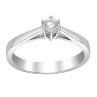 Afrodite 14K. hvidguldsring med 0,20CT diamant fra Siersbøl