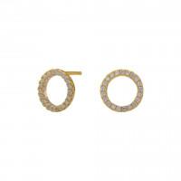 Medium ørestikker i guld med zirkoner fra Joanli Nor