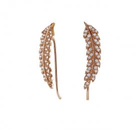 Rosa guld ørebøjle med fjer og zirkoner fra Nordahl Andersen