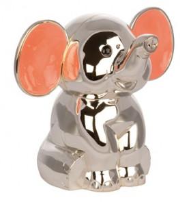 Sølvplet Elefant sparrebøsse med lyserøde øre fra Nordahl Andersen